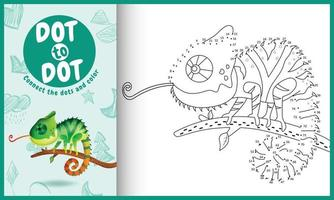 Connect the dots kids game and coloring page with a cute chameleon character illustration vector