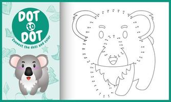 Connect the dots kids game and coloring page with a cute koala character illustration vector