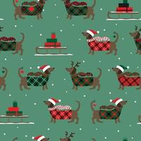 Christmas seamless pattern with sledges, duchshunds and snowflakes. Vector illustration.
