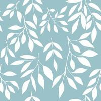 Seamless pattern with white leaves on blue background. Vector illustration.