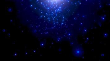 Movimiento de partículas azules y estrellas en la galaxia, fondo abstracto video