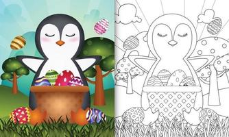 Libro para colorear para niños con temática feliz día de pascua con ilustración de personaje de un lindo pingüino en el cubo de huevo vector