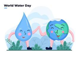 Celebrate World Water Day Flat illustration With Cute Earth and Water drop Cartoon character. Happy Water day. Can be used for banner, poster, greeting card, postcard, website, animation, flyer.