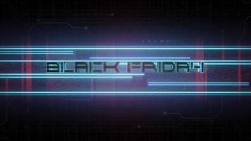 texte d & # 39; introduction d & # 39; animation vendredi noir et fond d & # 39; animation cyberpunk avec lignes au néon et grille matricielle