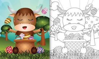 Libro para colorear para niños con temática feliz día de pascua con ilustración de personaje de un lindo búfalo en el huevo de cubo vector