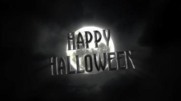 animação texto feliz dia das bruxas e animação mística fundo do dia das bruxas com lua escura e nuvens video