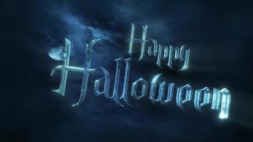 animationstext glad halloween och mystisk animation halloween bakgrund med mörk måne och moln video