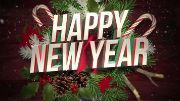 primer plano animado feliz año nuevo texto, copos de nieve blancos en dulces y rama de navidad verde, madera video
