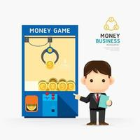 Infographic business claw game with coach design. How to success concept vector illustration.