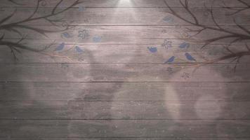närbild rörelse fåglar på träd på trä, bröllop bakgrund