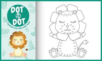 Connect the dots kids game and coloring page with a cute lion character illustration vector
