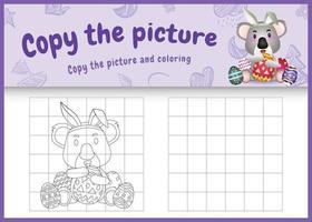 copia la imagen del juego para niños y la página para colorear de pascua con un lindo koala usando diademas de orejas de conejo abrazando huevos vector