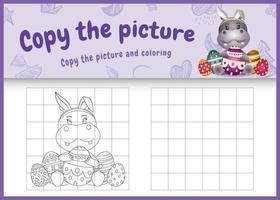 Copie la imagen del juego para niños y la página para colorear de Pascua con un lindo hipopótamo usando diademas de orejas de conejo abrazando huevos vector
