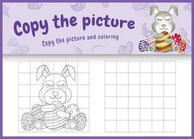 copiar la imagen del juego para niños y colorear la página temática de pascua con un lindo conejo usando diademas de orejas de conejo abrazando huevos vector