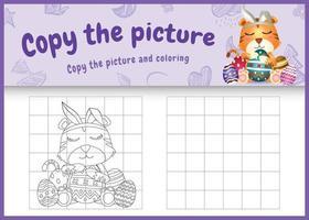 Copie la imagen del juego para niños y la página para colorear de Pascua con un lindo tigre usando diademas de orejas de conejo abrazando huevos vector