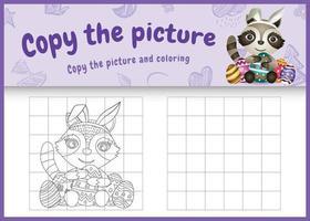 copia la imagen del juego para niños y la página para colorear de pascua con un lindo mapache usando diademas de orejas de conejo abrazando huevos vector