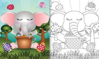 Libro para colorear para niños con temática feliz día de pascua con ilustración de personaje de un lindo elefante en el cubo de huevo vector