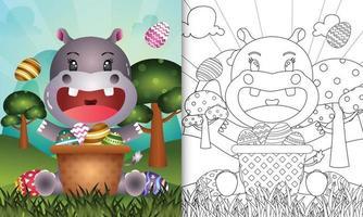 Libro para colorear para niños con temática feliz día de pascua con ilustración de personaje de un lindo hipopótamo en el huevo de cubo vector