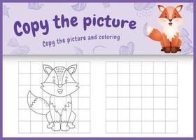 copy the picture kids game and coloring page with a cute fox character illustration vector