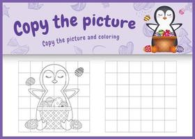 copy the picture kids game and coloring page themed easter with  a cute penguin and bucket egg vector