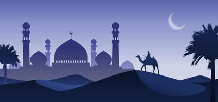 Hombre montando camello en la noche del desierto con fondo de mezquita y luna creciente, vista nocturna del paisaje del desierto de Arabia, ilustración de vector de silueta, concepto de islam o ramadán