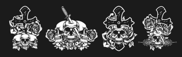 concepto de fusión de cráneo, cruz, flor, cuchillo vector