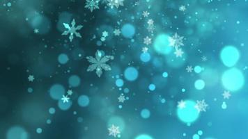witte sneeuwvlokken, sterren en abstracte bokehdeeltjes vallen. Gelukkig nieuwjaar en vrolijk kerstfeest