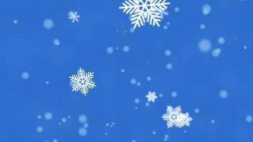 copos de nieve blancos, estrellas y partículas abstractas de bokeh cayendo. feliz Año Nuevo y feliz Navidad video