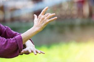 práctica de tai chi chuan al aire libre foto