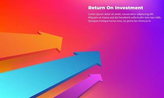 business arrow target direction concept to success. Return on investment ROI. Applicable for promotion , cover poster, infographic,  landing page, ui, ux, persentation,  baner, social media posted vector