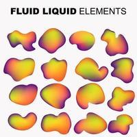 fluid shape vector set. gradient liquid with neon colors