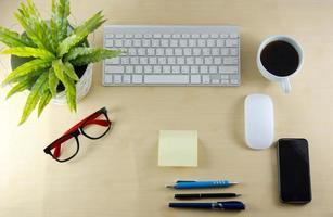 vista superior del escritorio de negocios foto
