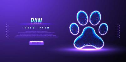 paw, low poly wireframe design vector illustration