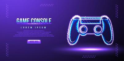 game pad, console, online game, low poly. vector illustration