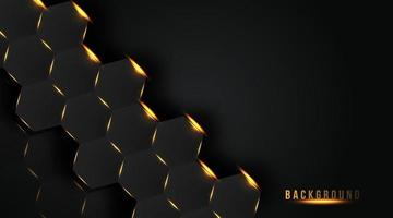 abstract hexagon with golden light background, vector illustration