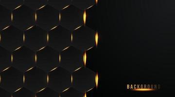 hexágono abstracto con una luz dorada brillante sobre un fondo oscuro, ilustración vectorial vector