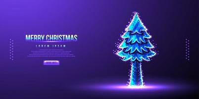 Pine trees, merry christmas landing page, low poly wireframe, vector illustration