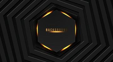 abstract hexagon with a gold bright light on a dark background, vector illustration
