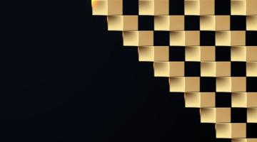 abstract square golden paper art on dark background vector