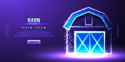 barn low poly wireframe vector illustration
