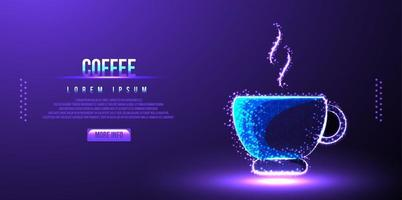 coffee java low poly wireframe vector illustration