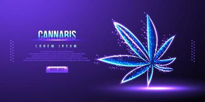 cannabis, hemp, low poly wireframe mesh vector illustration