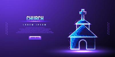 church low poly wireframe vector illustration