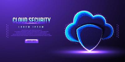 cloud shield security low poly wireframe vector illustration