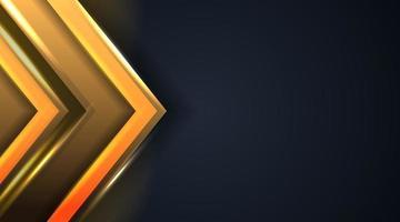 the abstract golden arrow on dark background vector illustration