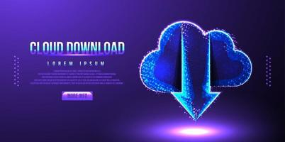 cloud download low poly wireframe vector illustration