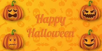Happy halloween background with scary pumpkins vector