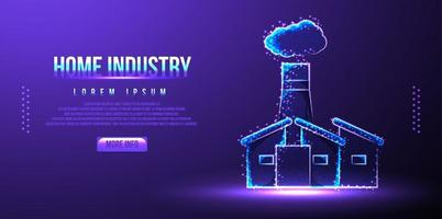 home industry, company building, low poly wireframe vector illustration