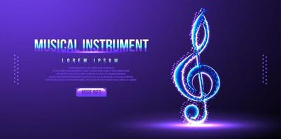 musical instrument note low poly wireframe vector illustration