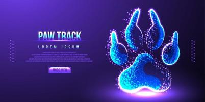 paw track low poly wireframe vector illustration